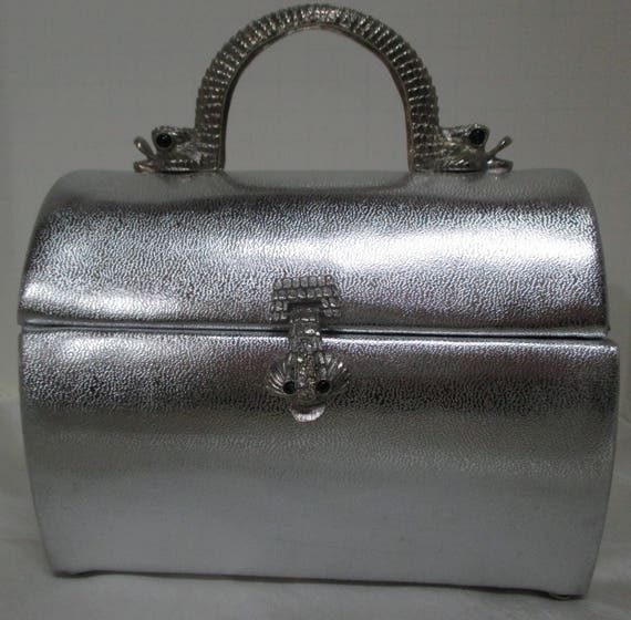 Vintage ARNOLD SCAASI Silver Leather Domed Box Pu… - image 1