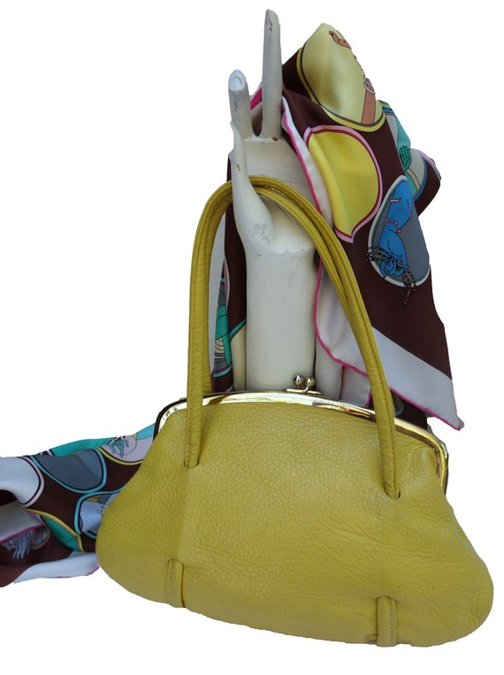 Vintage Yellow Pebbled Leather Handbag by ROGER VA