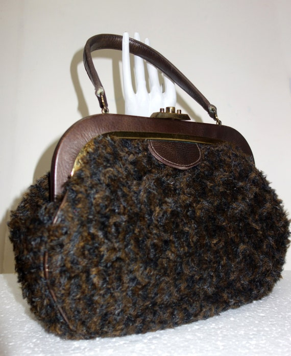 ROGER VAN S. Vintage 60s Brown Faux Curly Lamb Han