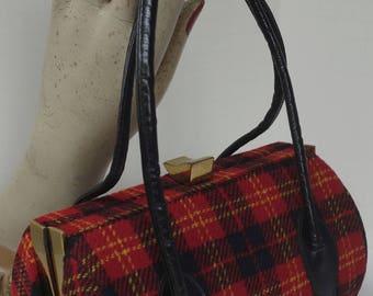 Vintage INGBER Red Tartan Petite Barrel-shaped Bag