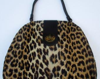 Vintage 50s INGBER Large Animal Print Handbag Purse
