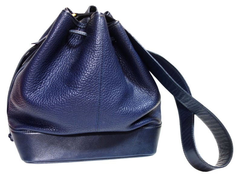dfd65d35de9 GUY LAROCHE Vintage 80s Steel Blue Pebbled Leather Large image 0 ...