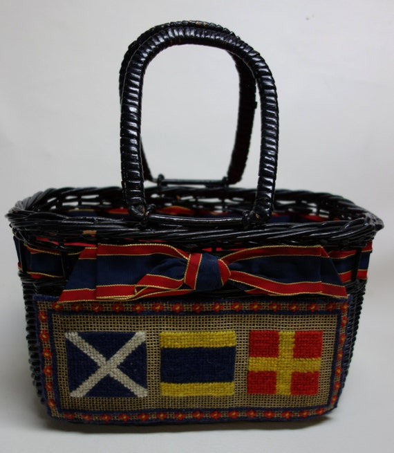 50s Wicker & Needlepoint Handbag Nautical