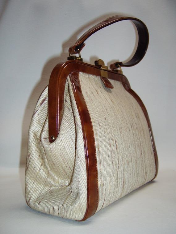 Vintage COBLENTZ Fabric & Patent Handbag Purse