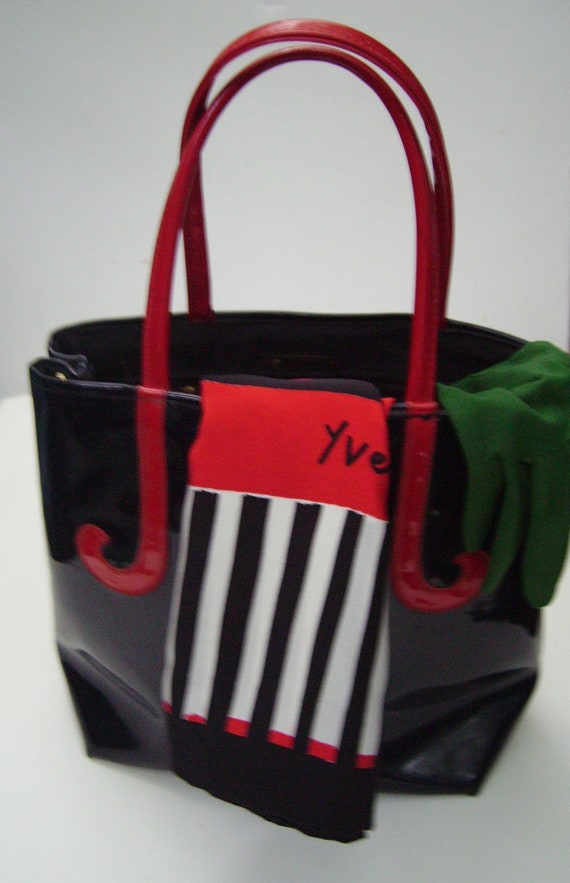 Vintage 60s ROGER VAN S Black Patent Tote with Red