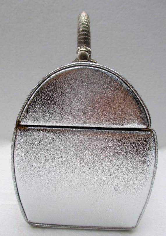 Vintage ARNOLD SCAASI Silver Leather Domed Box Pu… - image 9