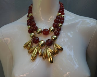 YSL Yves Saint Laurent Early two strand beaded Necklace