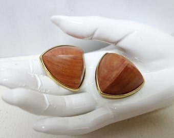Vintage YSL Yves Saint Laurent Massive Wooden Clip Earrings