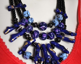 Navy Statement Necklace / Royal Blue Coral and Stone Jewelry / Unique Coral Necklace / Geometric Blue Black and Purple Necklace