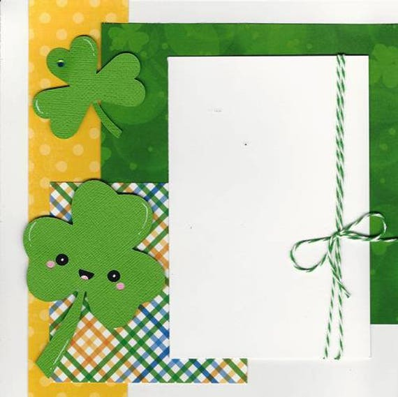 Pre Made 2 Page 8x8 Scrapbook Layout Shamrock St