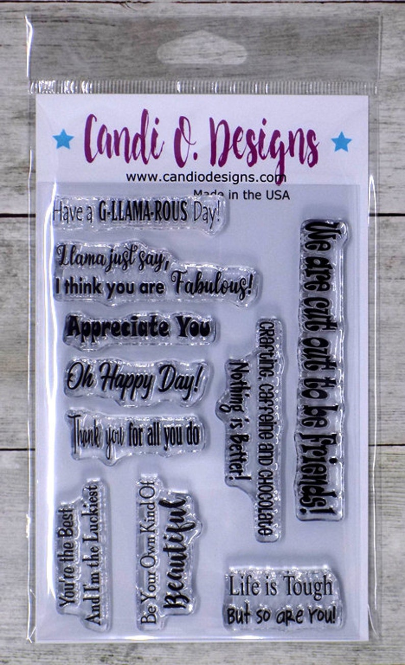Clear Sentiments Stamp Set 10 sentiments friends llama image 0