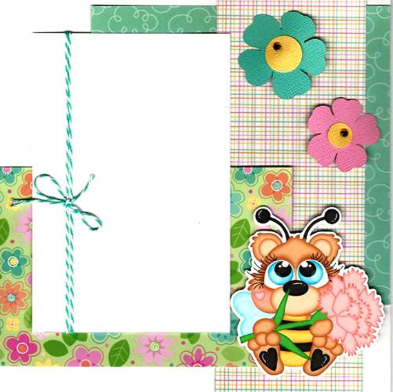 Pre Made 2 Page 8x8 Scrapbook Layout Bee Flowers Spring
