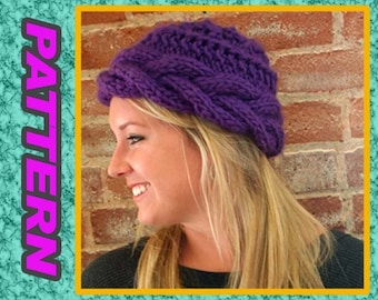 PDF KNITTED PATTERN/ for a cable hat quick knit