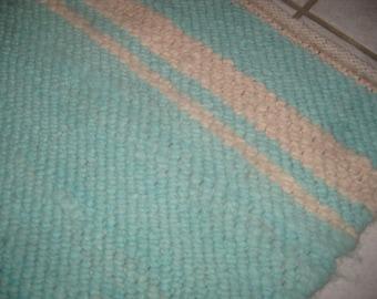 Rug Handwoven Wool Turquiose White Accent Rug Door Mat Bathroom Bedroom Alpaca Fiber Gift Rectangle Reversible