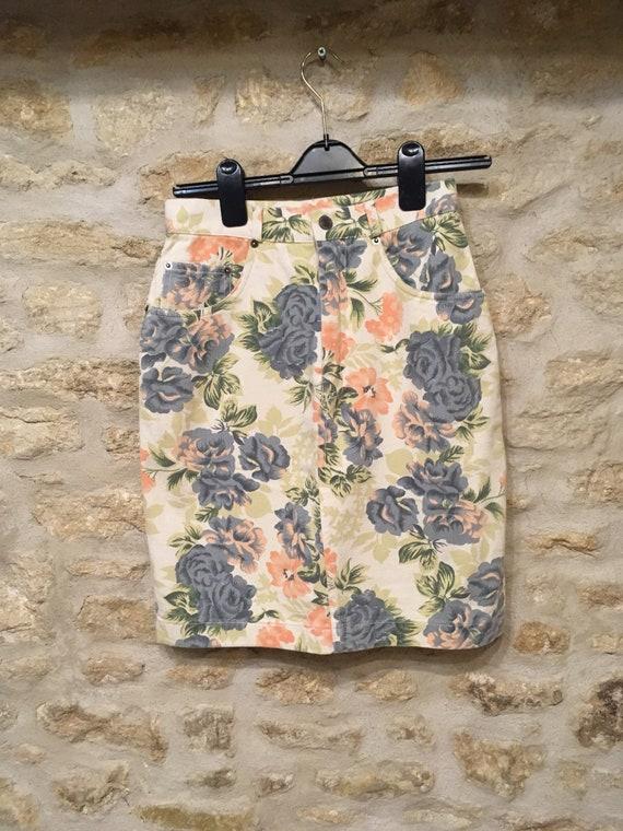 80's Floral Denim Skirt