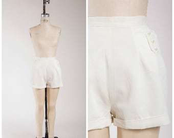 50s Vintage Shorts • Pin Up Queen • High Waisted White 50s Shorts Size Small
