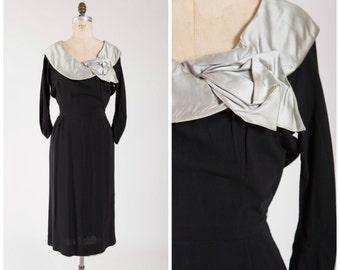 Vintage 1950s Dress • For Eternity •  Black Rayon 50s Party Dress Silver Satin Collar Size Medium