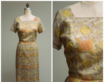 1950s Vintage Dress • Modern Love Song • Orange Yellow Printed Voile Vintage 50s Day Dress Size Large