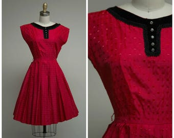 Vintage 1950s Dress • One Heart • Red Taffeta 50s Party Dress with Velvet Trim Size XSmall