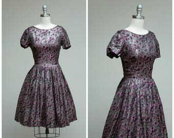 Vintage 1950s Dress • Metallic Moments • Silver Lurex and Pink Jacquard 50s Party Dress Size XSmall