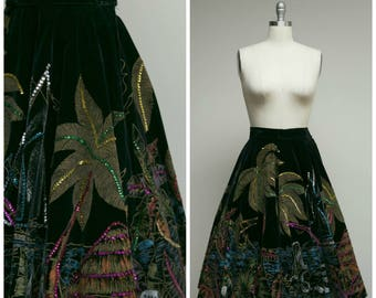 Vintage 50s Skirt • Shoreline View • Black Velvet Full Sweep Painted Mexican 50s Circle Skirt Size Small