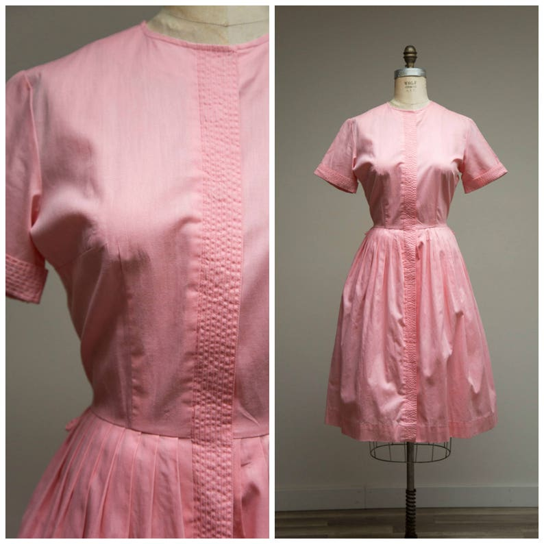 71e7d6f774d18b Vintage 1950s Dress Kissed Me Pink Cotton 50s Shirtwaist | Etsy