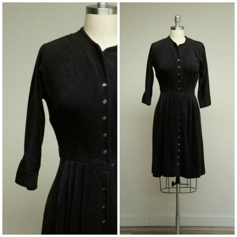 f7ce48f9965ab1 Vintage 1950s Dress Raven Black Fleece 50s Shirtwaist Day | Etsy