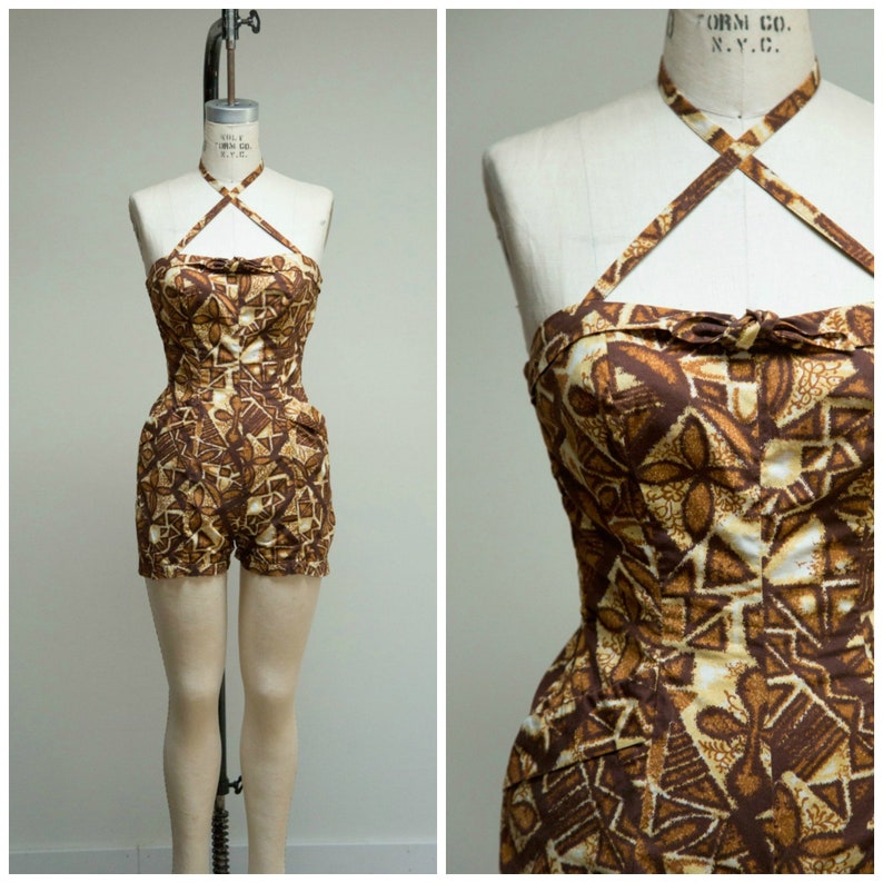 bea59d3f1778 1950s Vintage Playsuit Sun Goddess Gold Brown Hawaiian
