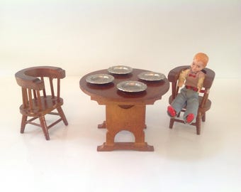 c9a903383bcac8 Doll House Vintage Wood Furniture, Dollhouse Kitchen Table and Chairs with  Pewter Plates, Wooden Dollhouse Furniture, Vintage Dollhouse Wood