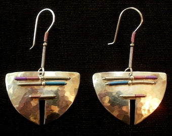b117ccab0 Early HOLLY YASHI Large Sheild Earrings with Pink, Blue, Purple and Copper  Accents