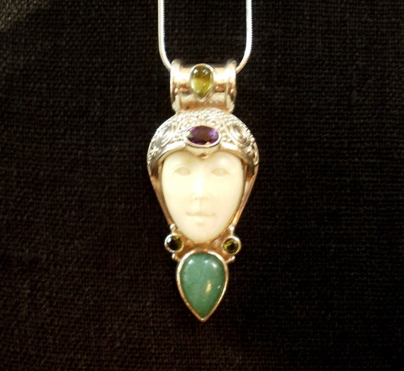 Siver Obsidian and Ruby Doublet Necklace Pendant