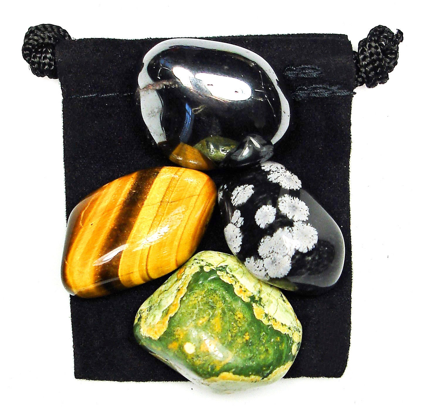 PROBLEM RESOLUTION Tumbled Crystal Healing Set - 4 Gemstones w/Description  & Pouch - Hematite, Rhyolite, Snowflake Obsidian, and Tiger's Eye