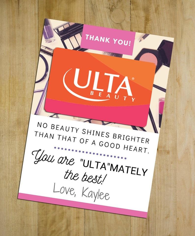 Teacher Appreciation Gift  Printable Ulta Gift Card Holder image 0