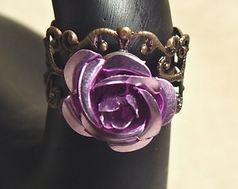 Antique Brass Filigree and Aluminum Lavender Rose Adjustable Ring