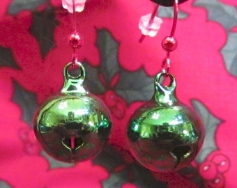 CLEARANCE      Green Christmas Bells with Red Ear Wire Earrings
