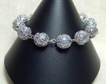 Filigree Wrapped Lavender Pearl Bracelet