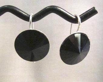Silver & Jet Swarovski Crystal Earrings