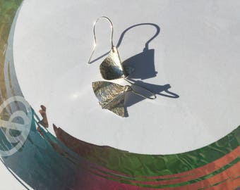 Sterling silver forged earrings