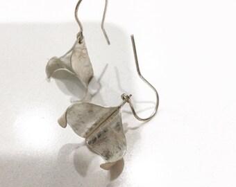 Fine silver forged earrings