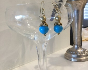 Turquoise and Gold Filled Bead Earrings