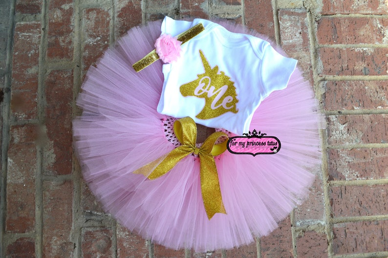 c40ff88d15077 Unicorn 1st Birthday outfit pink and gold glitter, pink and gold tutu,  first birthday, pink and gold set, birthday tutu, unicorn shirt tutu
