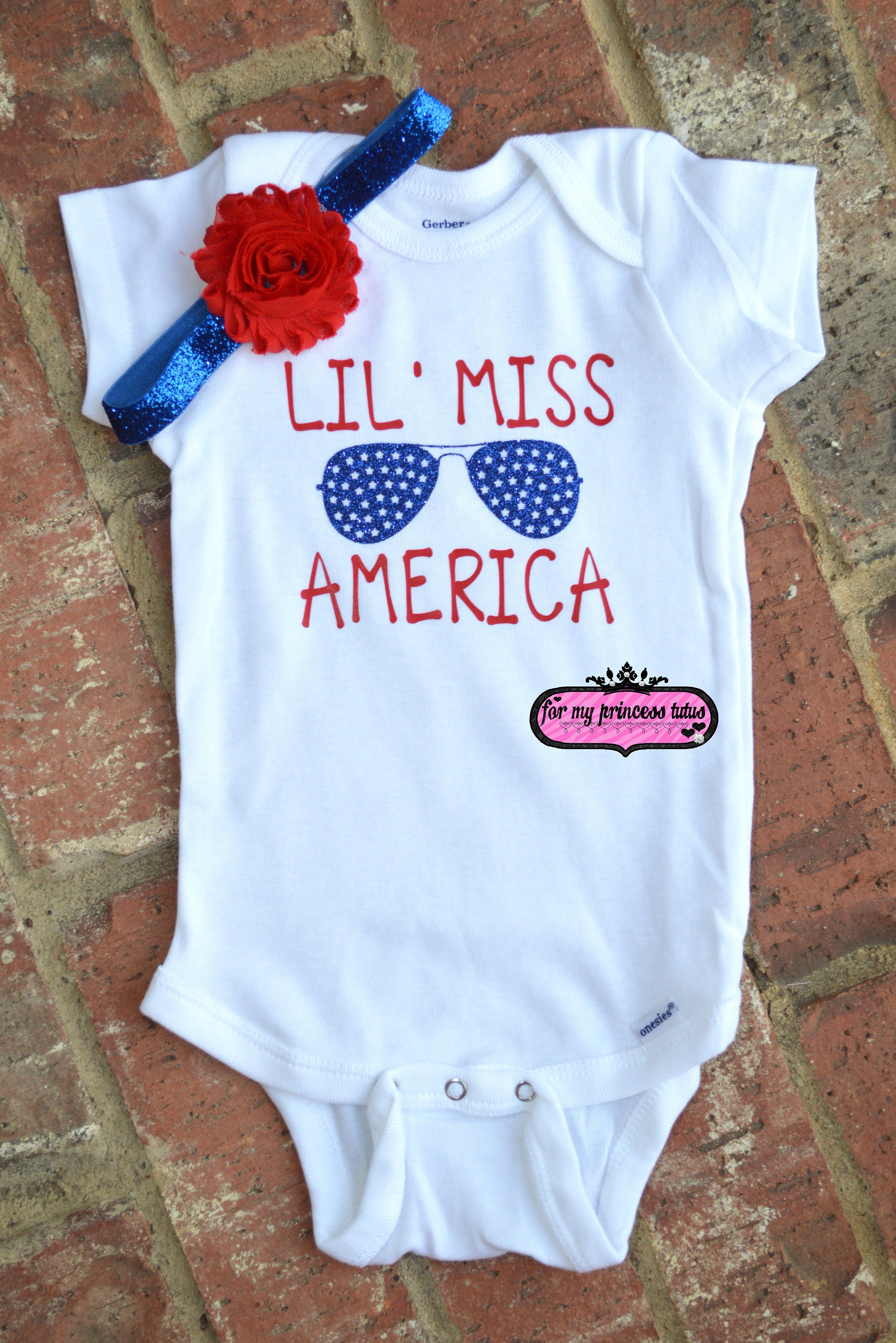 9b476a794 4th of July Outfit little miss america onesie red white and