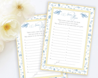 BABY SHOWER NAME Race Name That Baby Shower Party Game Blue Toile Printable Instant Download Digital 1071