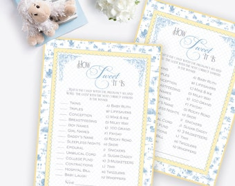 TOILE BABY SHOWER Game How Sweet It Is Blue Toile Printable Instant Download Digital 1071