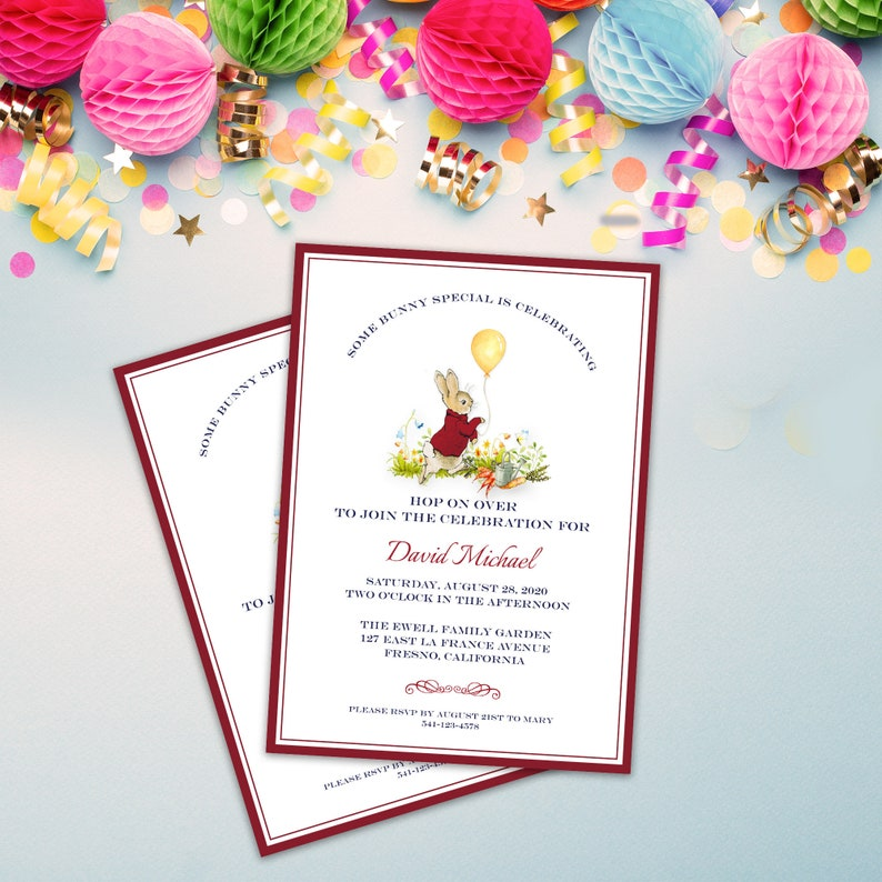 Peter Rabbit Birthday Invitation Template Editable Templett Text Printable Balloon Party Instant Download 4036