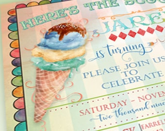 ICE CREAM PARTY invitation custom cone birthday invitation blue green invitation printable pink birthday invitation birthday 4021