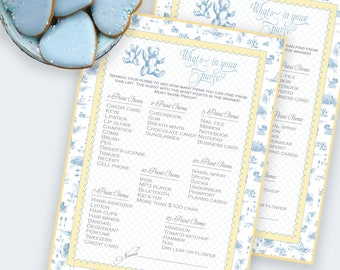 BABY SHOWER WHAT'S In Your Purse Shower Party Game Blue Toile Printable Instant Download Digital 1071