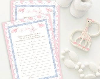 BABY SHOWER NAME Race Name That Baby Shower Party Game Pink Toile Printable Instant Download Digital 1072