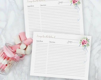 "RECIPE CARDS FOR a Bridal Shower Printable Pink Poppy 4""x 6"" Recipe Card for the Bride to Be Instant Download Flowers 2018"