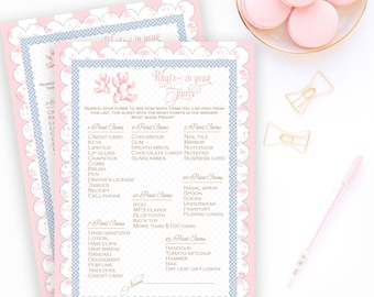 BABY SHOWER WHAT'S In Your Purse Shower Party Game Pink Toile Printable Instant Download Digital 1072